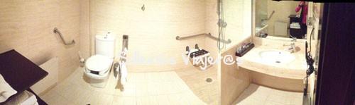 Baño adaptado de la habitación del  Hotel Vall de Vas en la Garrotxa
