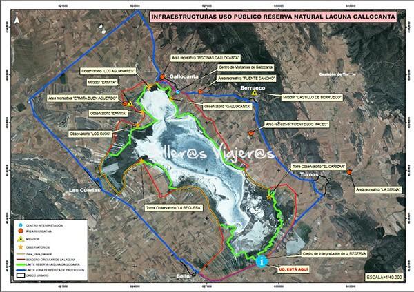 Mapa de la laguna de Gallocanta