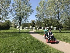 Bicicleta con plataforma parar silla de ruedas