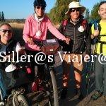 Grupo de 4 personas, 1 usaurio de handbike, 1 con bicileta, una persona ciega y una persona con baja visión