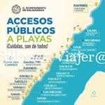 Mapa Playa del Carmen, indicadas las playas que son accesibles para PMR