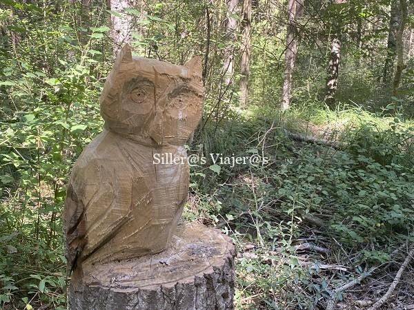Animales tallados en madera a lo largo del recorrido