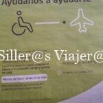 Cartel informativo del aeropuerto.