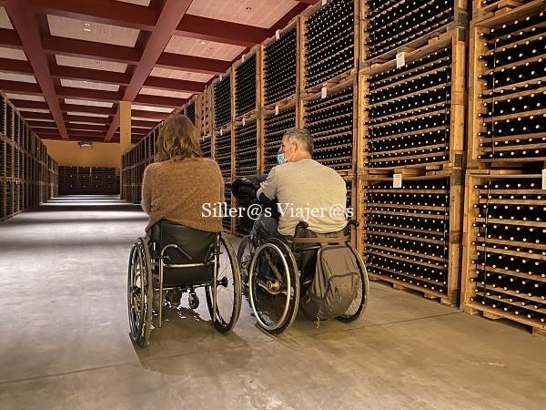 2 personas en silla de ruedas pasean entre botellas de vino